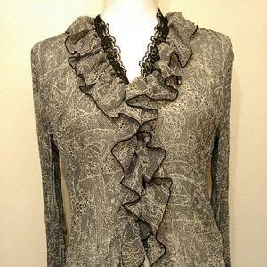 Tribal women's top shirt blouse Sz 10 textured
